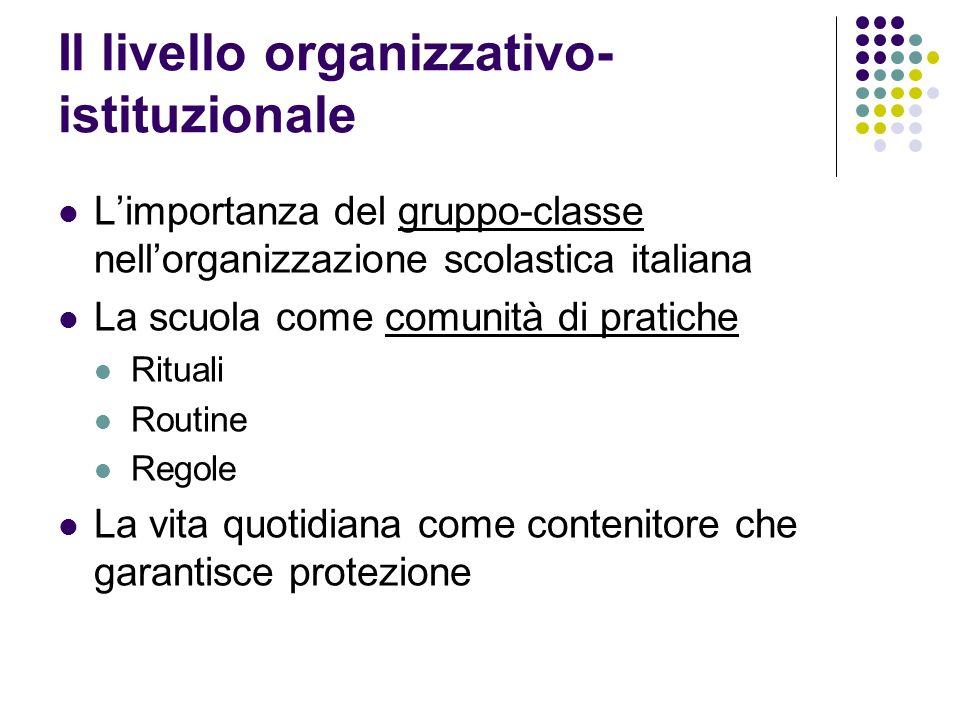 Il livello organizzativo- istituzionale Limportanza del gruppo-classe nellorganizzazione scolastica italiana La scuola come comunità di pratiche Ritua