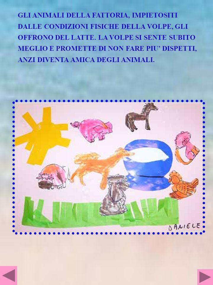 Una volpe Rina era dispettosa, viveva in un bosco tutto buio, disturbava gli animali con la fattoria, disturbava le galline e veniva sempre un gran baccano, aveva trovato un uovo e lo nascondeva in un pagliaio grande grande, tirava la coda al cane bassotto dormiva sotto un albero, ai piedi dellalbero, andava a disturbare la mucca Milli era nel prato che stava mangiando i fiori, dopo è scappata veloce veloce perché la volpe Rina gli corre dietr, poi arriva un grande temporale, delle grandi gocce gli cadono da tutte le parti, poi è successo che la volpe aveva paura del temporale e il vento la sbatteva di qua e di la, poi il cane bassotto non gli poteva aprire perché era chiuso nella sua cuccia, il cavallo non apriva la porta perché aveva paura del temporale, la volpe Rina era sdraiata per terra e sembrava che fosse morta poi gli ospiti della fattoria gli avevano dato una tazza di latte, la volpe apre gli occhi e promette agli animali che non farà più i dispetti MATTEO La conversazione è sta fatta con laiuto delle illustrazioni del libro e le domande poste dallinsegnante per facilitare i ricordi.