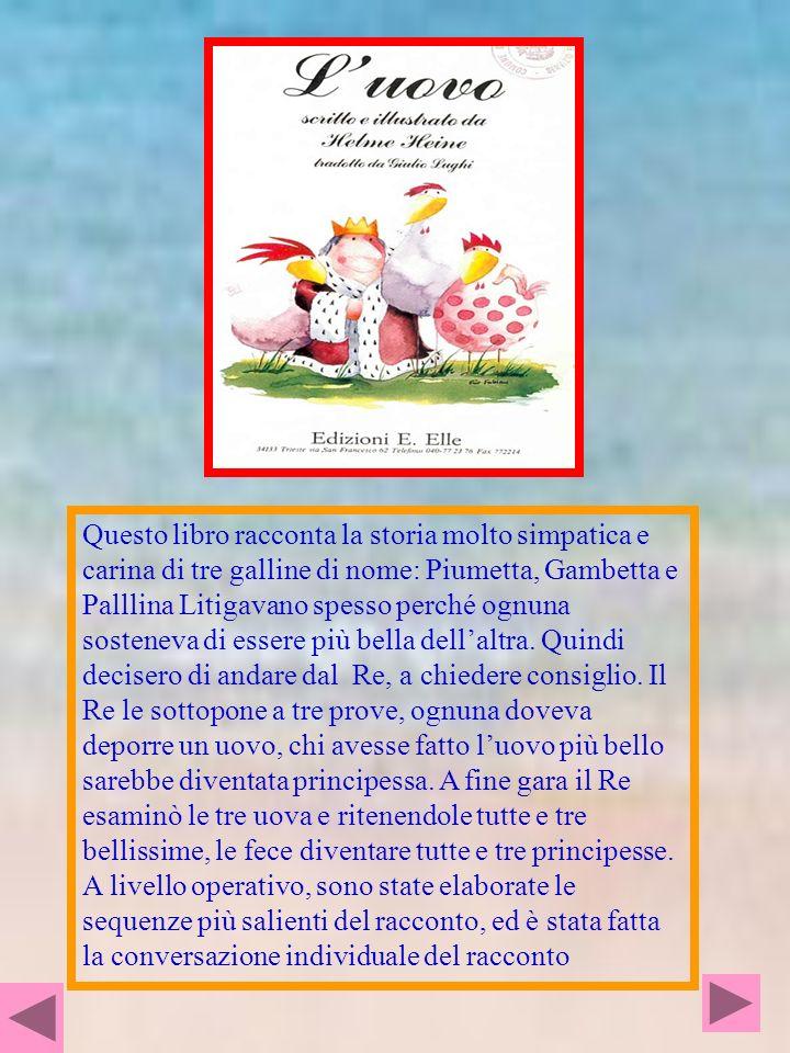 LE TRE GALLINE : Pallina, Piumetta, Gambetta: Pallina ha un vestito con tutti pallini colorati; Piumetta ha una cresta lunga e bella; Gambetta ha delle belle gambe lunghe