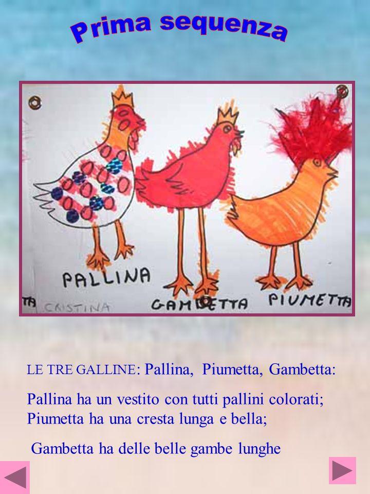 LE TRE GALLINE : Pallina, Piumetta, Gambetta: Pallina ha un vestito con tutti pallini colorati; Piumetta ha una cresta lunga e bella; Gambetta ha dell