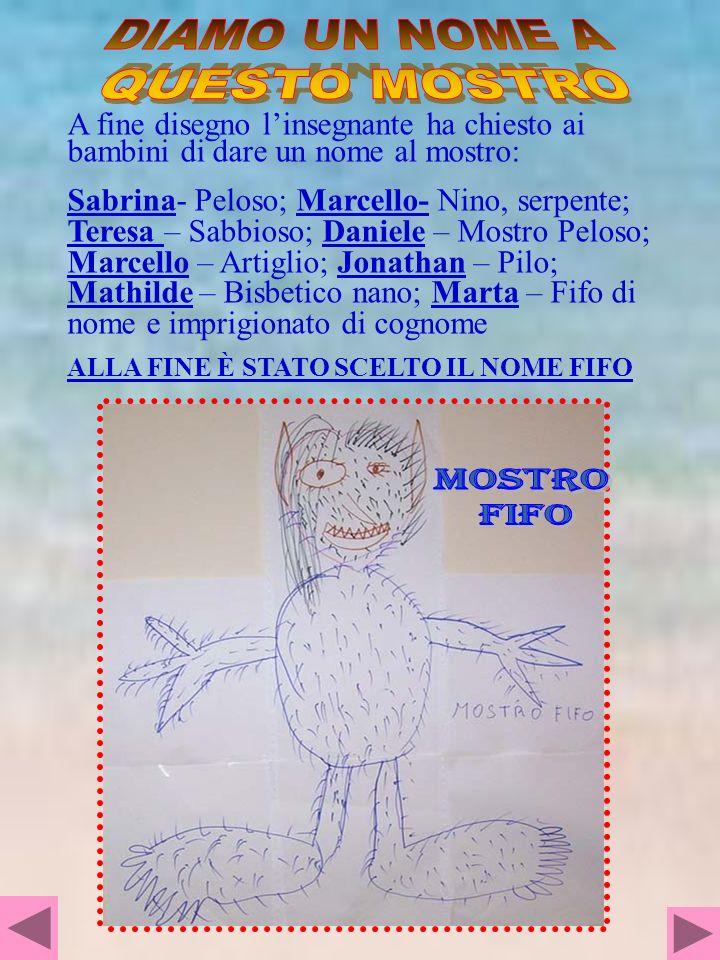 A fine disegno linsegnante ha chiesto ai bambini di dare un nome al mostro: Sabrina- Peloso; Marcello- Nino, serpente; Teresa – Sabbioso; Daniele – Mo
