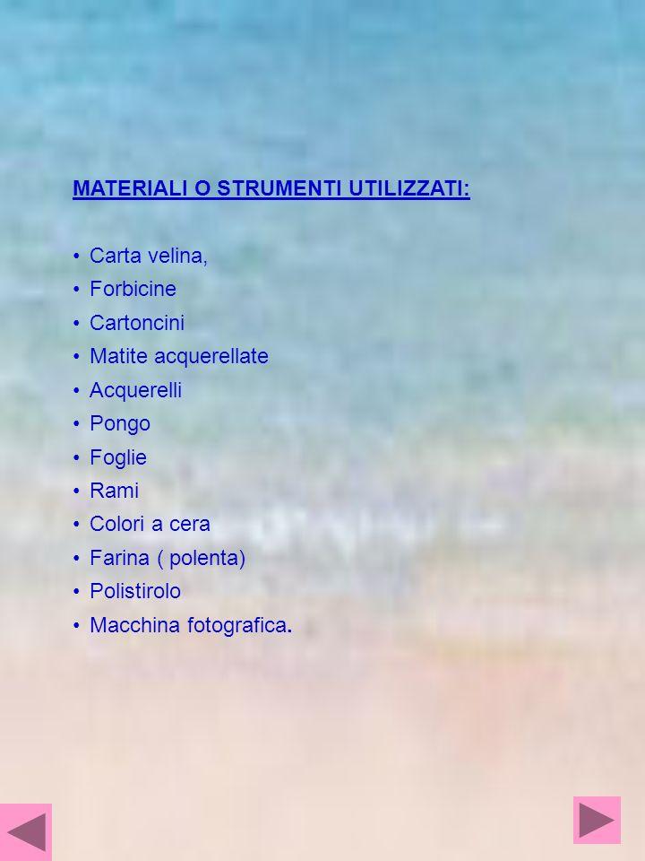 MATERIALI O STRUMENTI UTILIZZATI: Carta velina, Forbicine Cartoncini Matite acquerellate Acquerelli Pongo Foglie Rami Colori a cera Farina ( polenta)