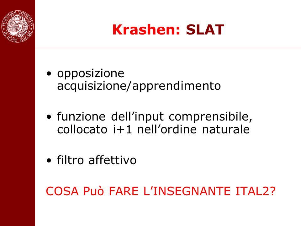 Krashen: SLAT opposizione acquisizione/apprendimento funzione dellinput comprensibile, collocato i+1 nellordine naturale filtro affettivo COSA Può FAR