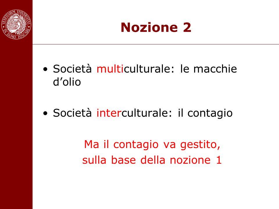 Nozione 2 Società multiculturale: le macchie dolio Società interculturale: il contagio Ma il contagio va gestito, sulla base della nozione 1