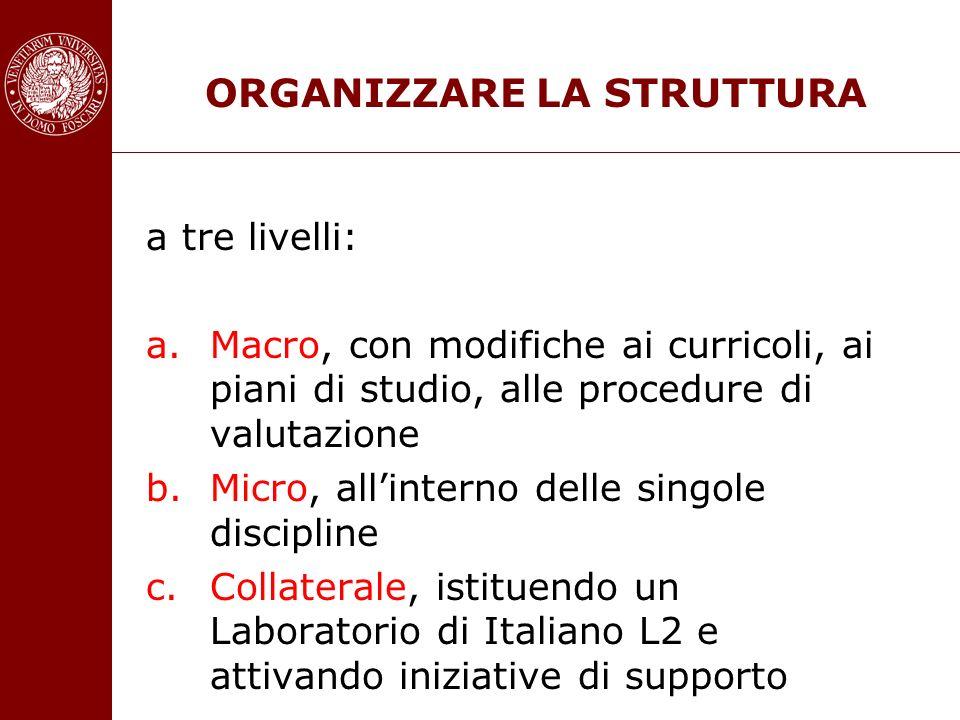 ORGANIZZARE LA STRUTTURA a tre livelli: a.Macro, con modifiche ai curricoli, ai piani di studio, alle procedure di valutazione b.Micro, allinterno del