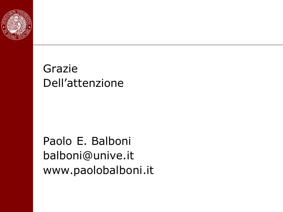 Grazie Dellattenzione Paolo E. Balboni balboni@unive.it www.paolobalboni.it