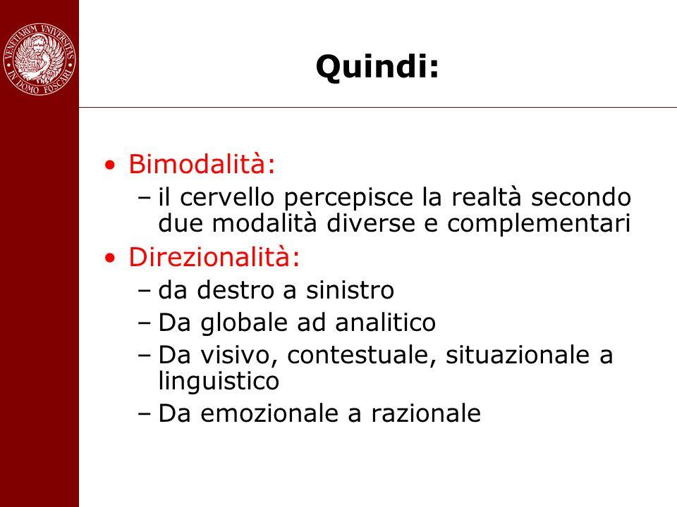 Quindi: Bimodalità: –il cervello percepisce la realtà secondo due modalità diverse e complementari Direzionalità: –da destro a sinistro –Da globale ad