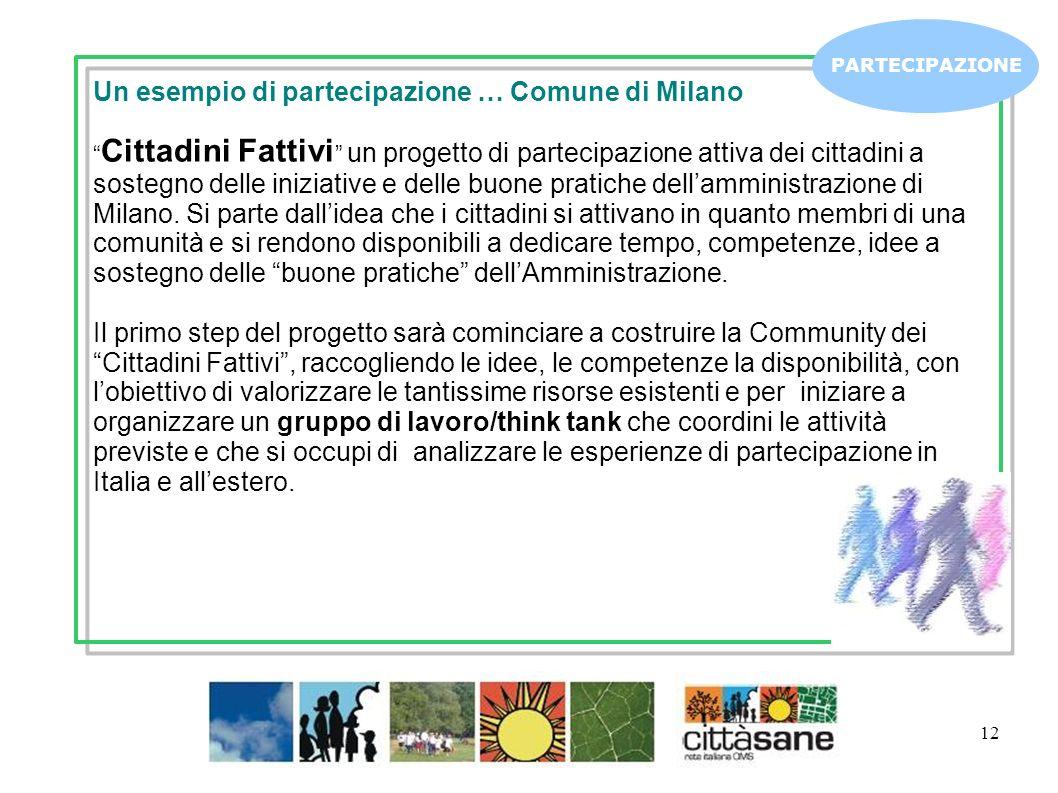 12 PARTECIPAZIONE Un esempio di partecipazione … Comune di Milano Cittadini Fattivi un progetto di partecipazione attiva dei cittadini a sostegno dell
