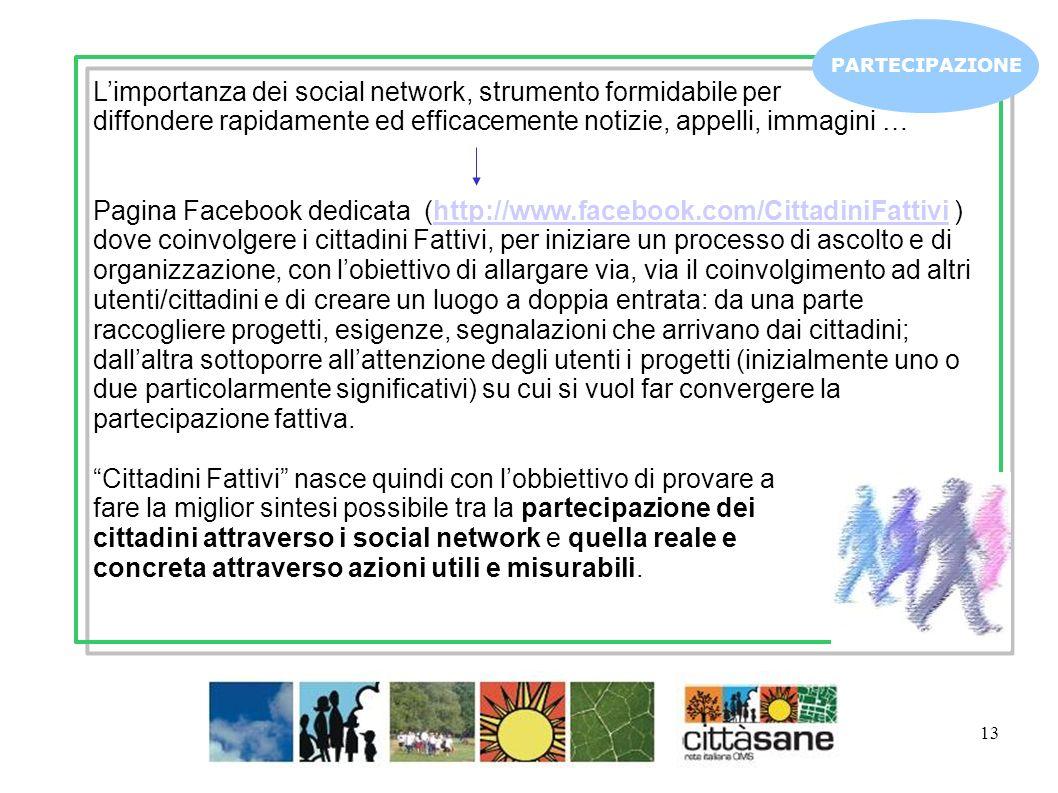 13 PARTECIPAZIONE Limportanza dei social network, strumento formidabile per diffondere rapidamente ed efficacemente notizie, appelli, immagini … Pagin
