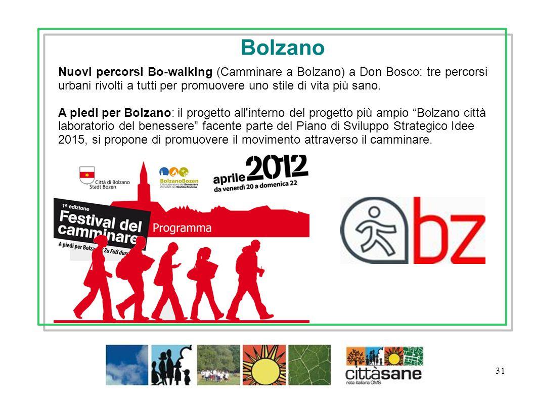 31 Bolzano Nuovi percorsi Bo-walking (Camminare a Bolzano) a Don Bosco: tre percorsi urbani rivolti a tutti per promuovere uno stile di vita più sano.