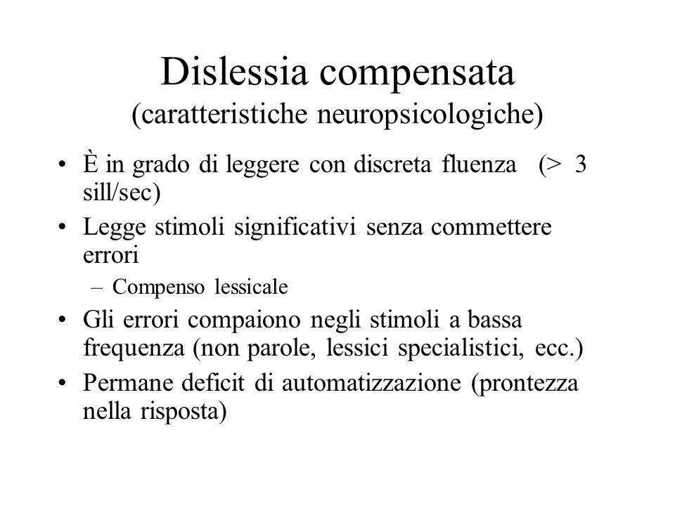 Dislessia compensata (caratteristiche neuropsicologiche) È in grado di leggere con discreta fluenza (> 3 sill/sec) Legge stimoli significativi senza c