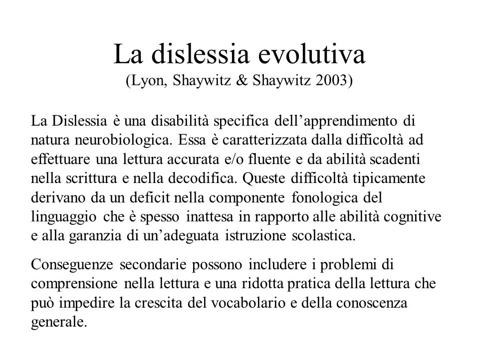 La dislessia evolutiva (criteri di inclusione) Lettura < 2 dev.
