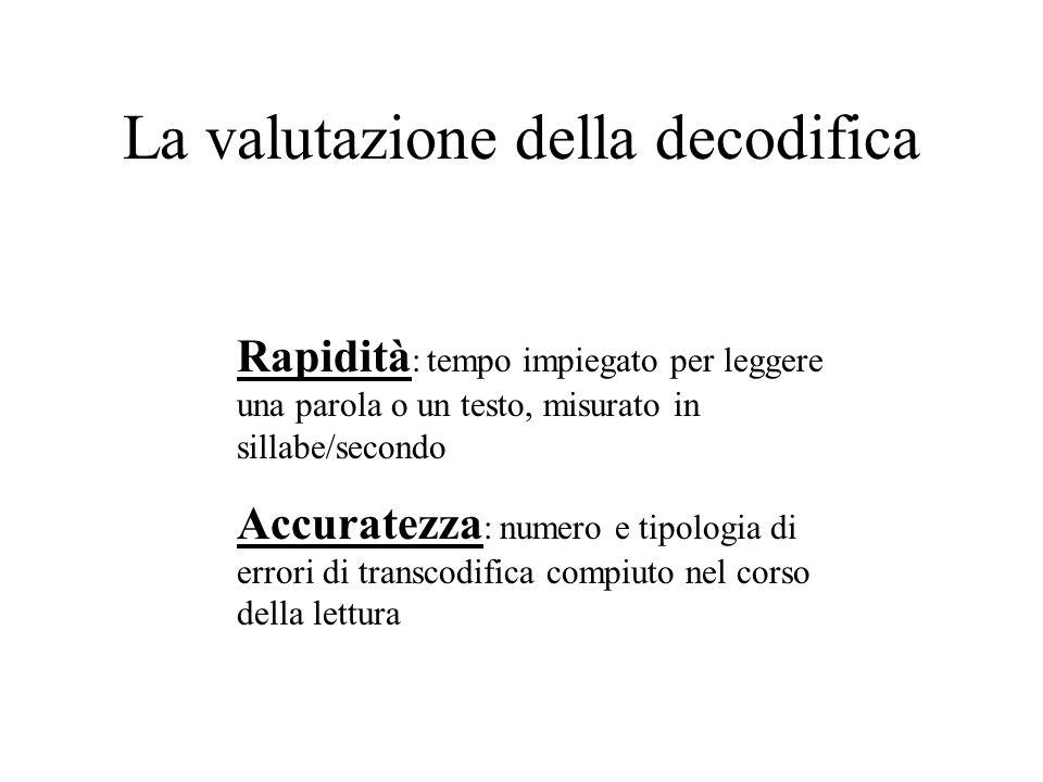 La valutazione della decodifica Rapidità : tempo impiegato per leggere una parola o un testo, misurato in sillabe/secondo Accuratezza : numero e tipol