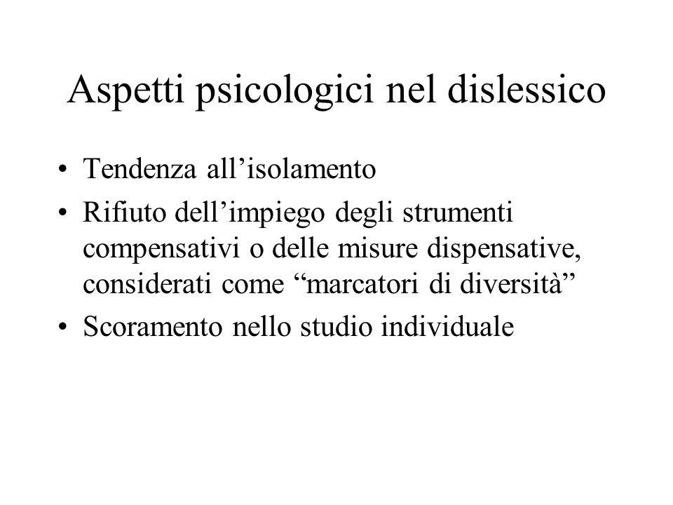Aspetti psicologici nel dislessico Tendenza allisolamento Rifiuto dellimpiego degli strumenti compensativi o delle misure dispensative, considerati co