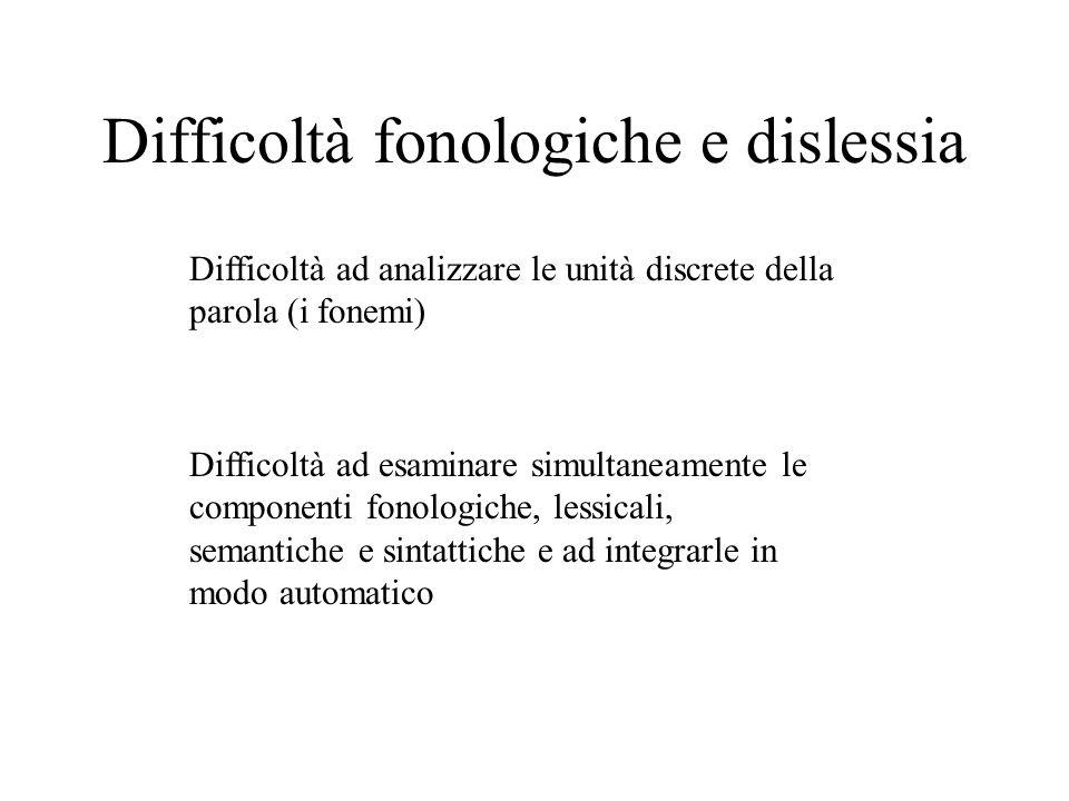 Difficoltà fonologiche e dislessia Difficoltà ad analizzare le unità discrete della parola (i fonemi) Difficoltà ad esaminare simultaneamente le compo