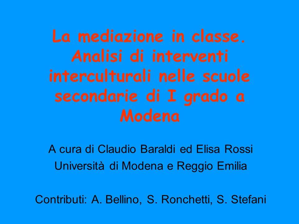 La mediazione in classe. Analisi di interventi interculturali nelle scuole secondarie di I grado a Modena A cura di Claudio Baraldi ed Elisa Rossi Uni