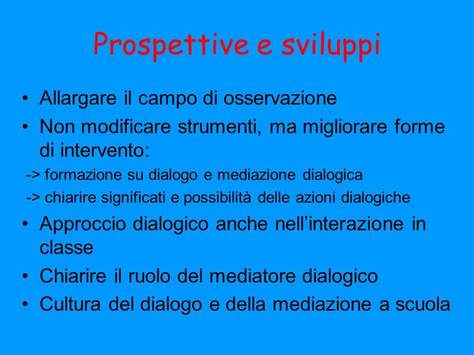 Prospettive e sviluppi Allargare il campo di osservazione Non modificare strumenti, ma migliorare forme di intervento: -> formazione su dialogo e medi