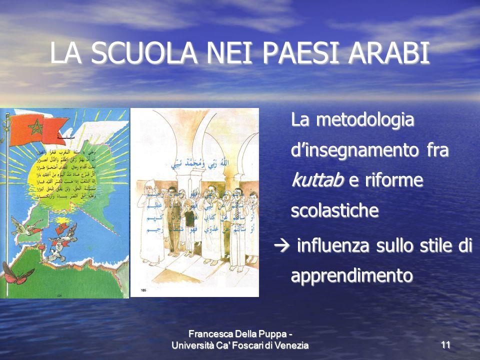 Francesca Della Puppa - Università Ca' Foscari di Venezia11 LA SCUOLA NEI PAESI ARABI La metodologia dinsegnamento fra kuttab e riforme scolastiche in