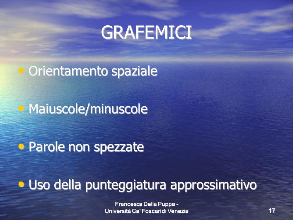 Francesca Della Puppa - Università Ca' Foscari di Venezia17 GRAFEMICI Orientamento spaziale Orientamento spaziale Maiuscole/minuscole Maiuscole/minusc