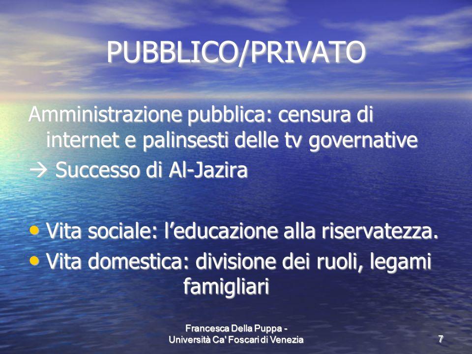 Francesca Della Puppa - Università Ca' Foscari di Venezia7 PUBBLICO/PRIVATO Amministrazione pubblica: censura di internet e palinsesti delle tv govern