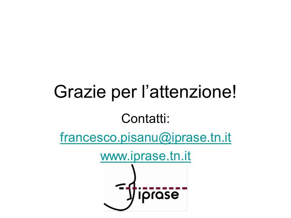 Grazie per lattenzione! Contatti: francesco.pisanu@iprase.tn.it www.iprase.tn.it
