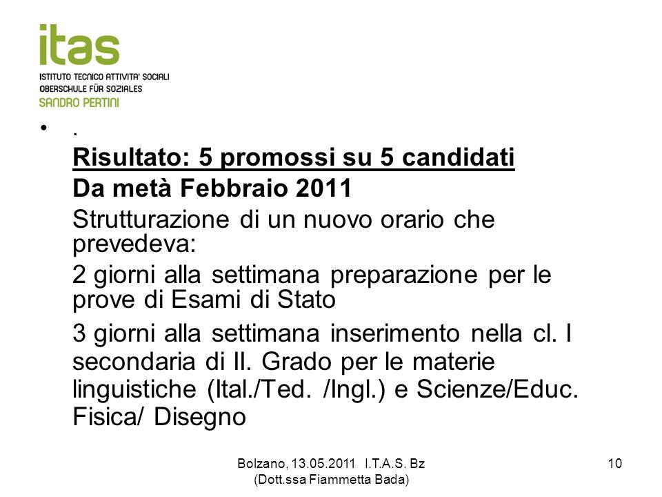 Bolzano, 13.05.2011 I.T.A.S. Bz (Dott.ssa Fiammetta Bada) 10. Risultato: 5 promossi su 5 candidati Da metà Febbraio 2011 Strutturazione di un nuovo or