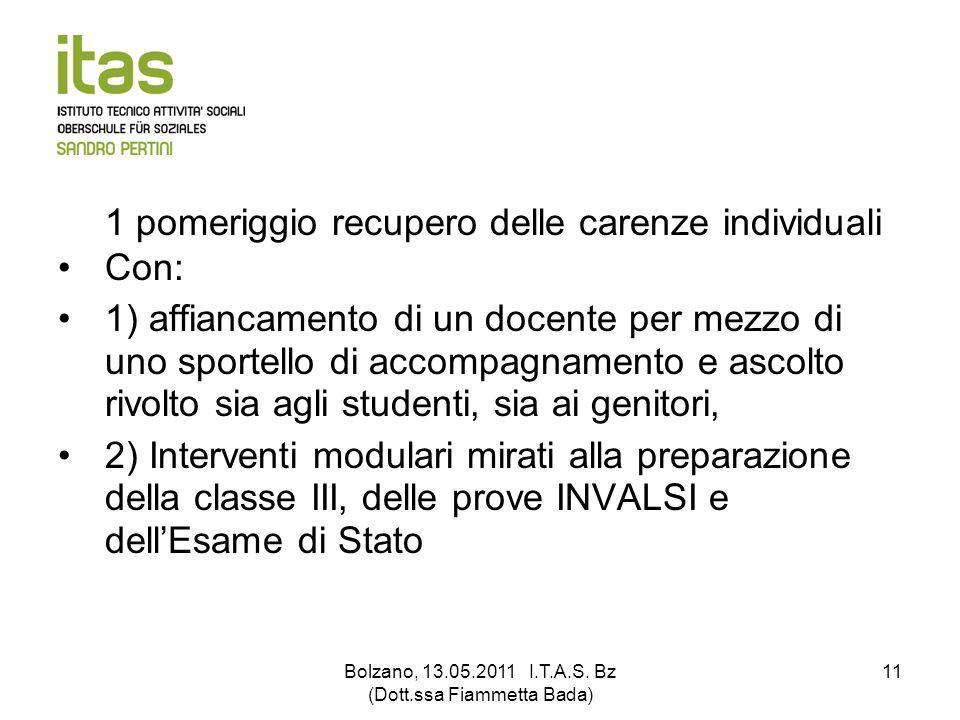 Bolzano, 13.05.2011 I.T.A.S. Bz (Dott.ssa Fiammetta Bada) 11 1 pomeriggio recupero delle carenze individuali Con: 1) affiancamento di un docente per m