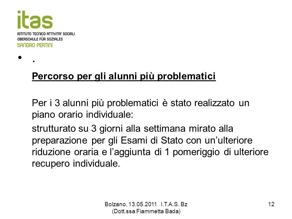 Bolzano, 13.05.2011 I.T.A.S. Bz (Dott.ssa Fiammetta Bada) 12. Percorso per gli alunni più problematici Per i 3 alunni più problematici è stato realizz