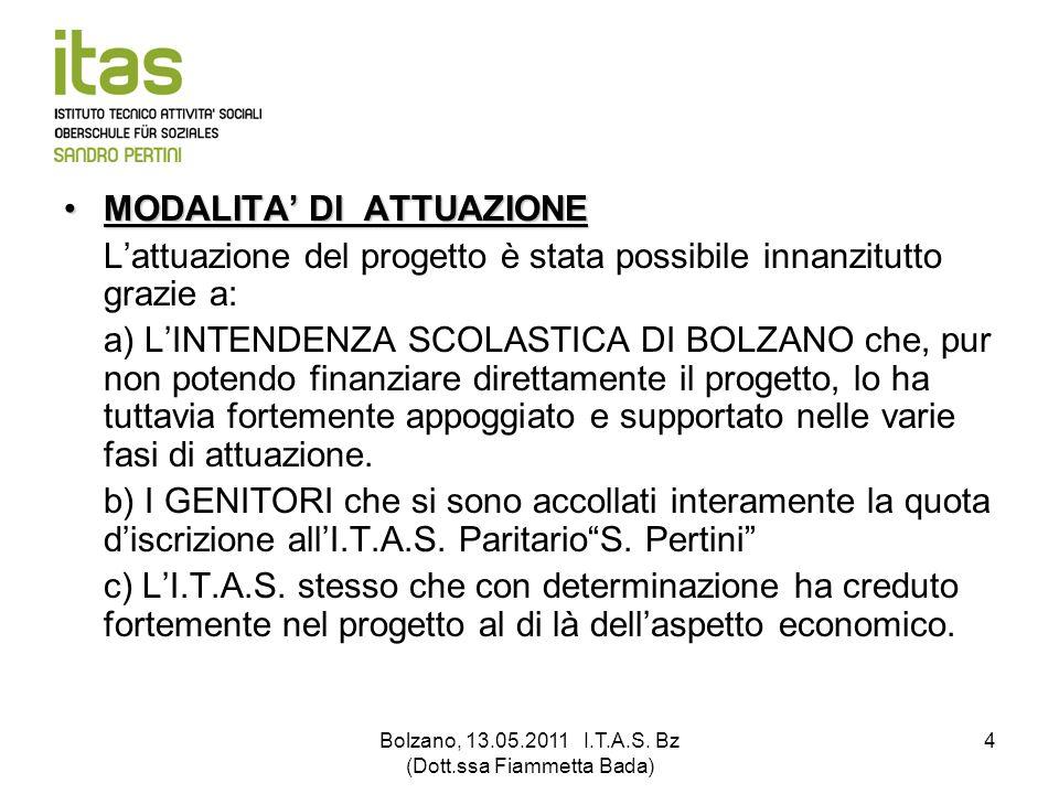 Bolzano, 13.05.2011 I.T.A.S. Bz (Dott.ssa Fiammetta Bada) 4 MODALITA DI ATTUAZIONEMODALITA DI ATTUAZIONE Lattuazione del progetto è stata possibile in