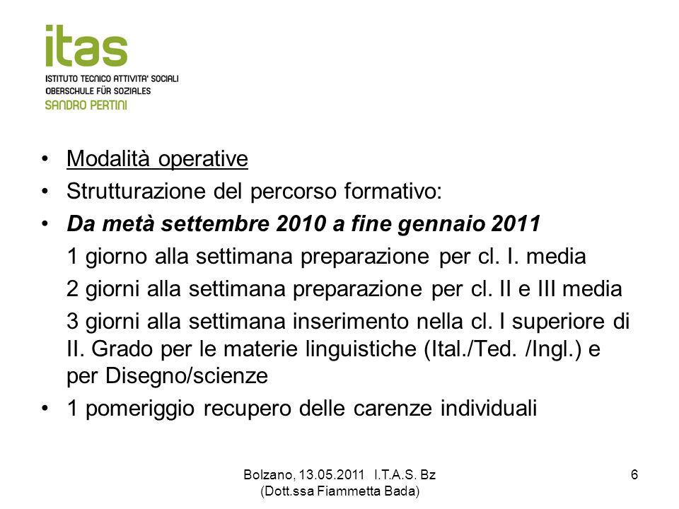 Bolzano, 13.05.2011 I.T.A.S. Bz (Dott.ssa Fiammetta Bada) 6 Modalità operative Strutturazione del percorso formativo: Da metà settembre 2010 a fine ge