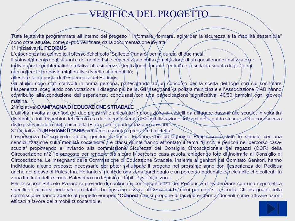 VERIFICA DEL PROGETTO Tutte le attività programmate allinterno del progetto Informare, formare, agire per la sicurezza e la mobilità sostenibile sono