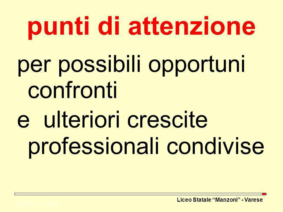 punti di attenzione per possibili opportuni confronti e ulteriori crescite professionali condivise