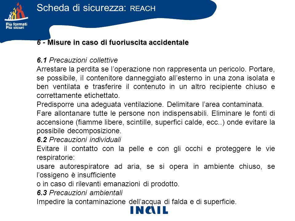 Misure in caso di fuoriuscita accidentale 6 - Misure in caso di fuoriuscita accidentale 6.1 Precauzioni collettive Arrestare la perdita se loperazione