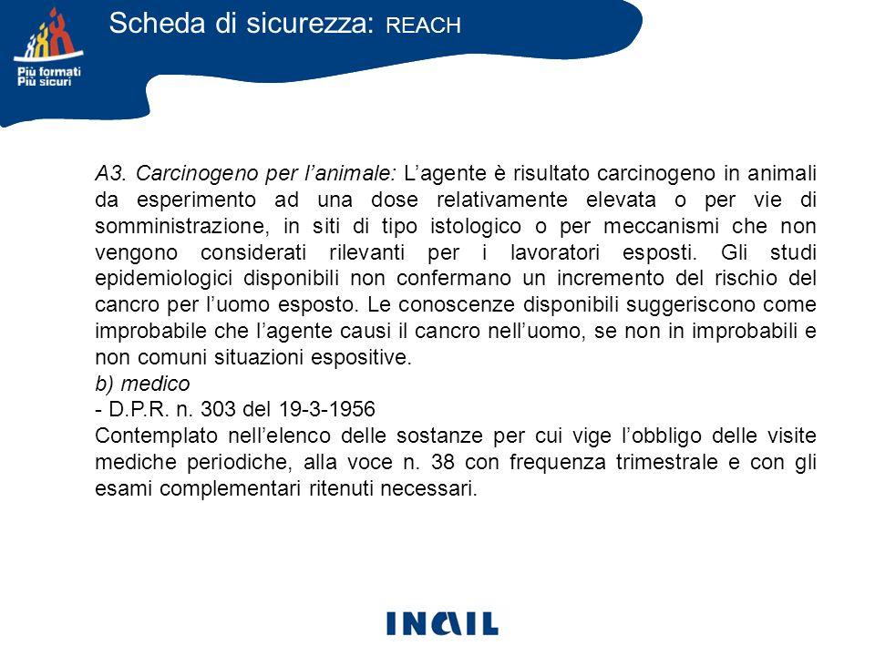 A3. Carcinogeno per lanimale: Lagente è risultato carcinogeno in animali da esperimento ad una dose relativamente elevata o per vie di somministrazion