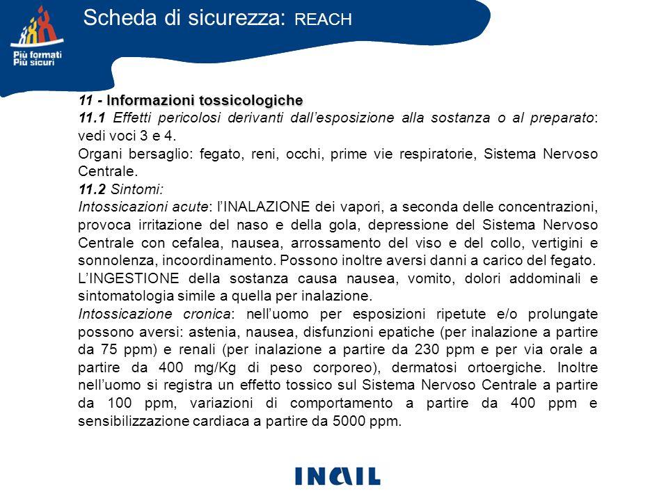 Informazioni tossicologiche 11 - Informazioni tossicologiche 11.1 Effetti pericolosi derivanti dallesposizione alla sostanza o al preparato: vedi voci