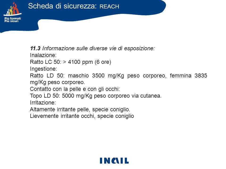 11.3 Informazione sulle diverse vie di esposizione: Inalazione: Ratto LC 50: > 4100 ppm (6 ore) Ingestione: Ratto LD 50: maschio 3500 mg/Kg peso corpo