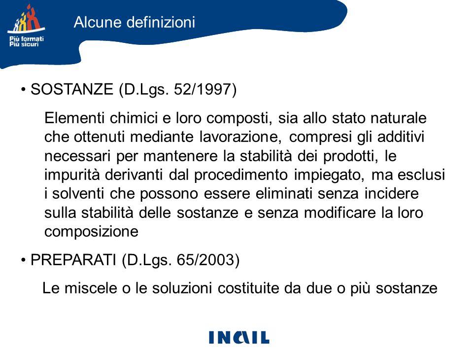 SOSTANZE (D.Lgs. 52/1997) Elementi chimici e loro composti, sia allo stato naturale che ottenuti mediante lavorazione, compresi gli additivi necessari
