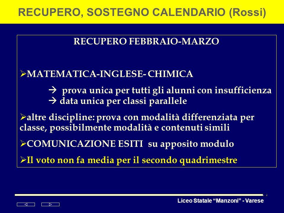 Liceo Statale Manzoni - Varese RECUPERO, SOSTEGNO CALENDARIO (Rossi) RECUPERO FEBBRAIO-MARZO MATEMATICA-INGLESE- CHIMICA prova unica per tutti gli alu