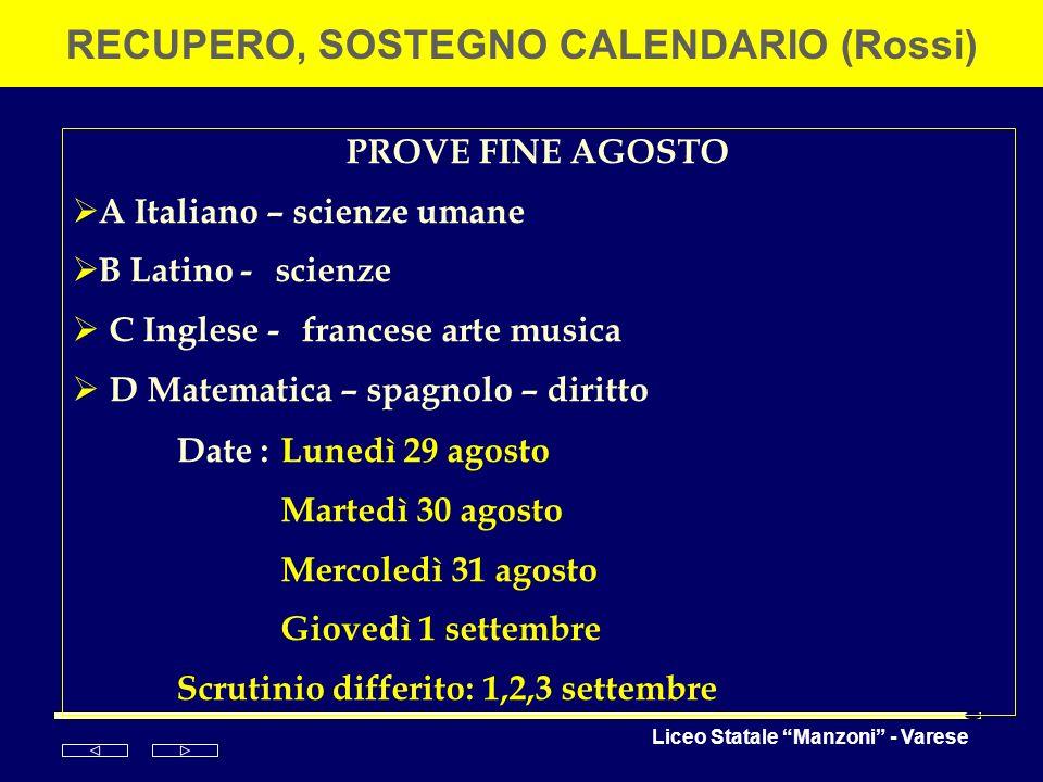 Liceo Statale Manzoni - Varese RECUPERO, SOSTEGNO CALENDARIO (Rossi) PROVE FINE AGOSTO A Italiano – scienze umane B Latino - scienze C Inglese - franc