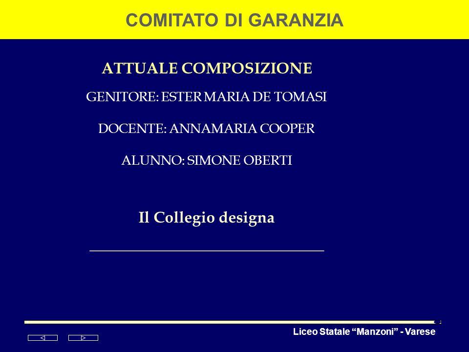 Liceo Statale Manzoni - Varese COMITATO DI GARANZIA ATTUALE COMPOSIZIONE GENITORE: ESTER MARIA DE TOMASI DOCENTE: ANNAMARIA COOPER ALUNNO: SIMONE OBER