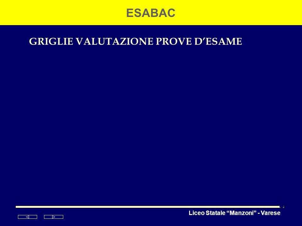 Liceo Statale Manzoni - Varese ESABAC GRIGLIE VALUTAZIONE PROVE DESAME