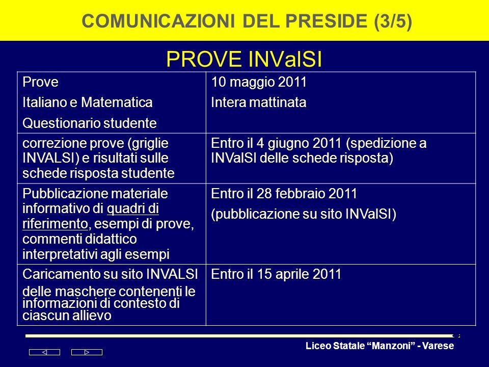 Liceo Statale Manzoni - Varese PROVE INValSI COMUNICAZIONI DEL PRESIDE (3/5) Prove Italiano e Matematica Questionario studente 10 maggio 2011 Intera m