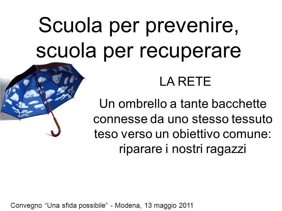 Scuola per prevenire, scuola per recuperare Un ombrello a tante bacchette connesse da uno stesso tessuto teso verso un obiettivo comune: riparare i nostri ragazzi Convegno Una sfida possibile - Modena, 13 maggio 2011 LA RETE