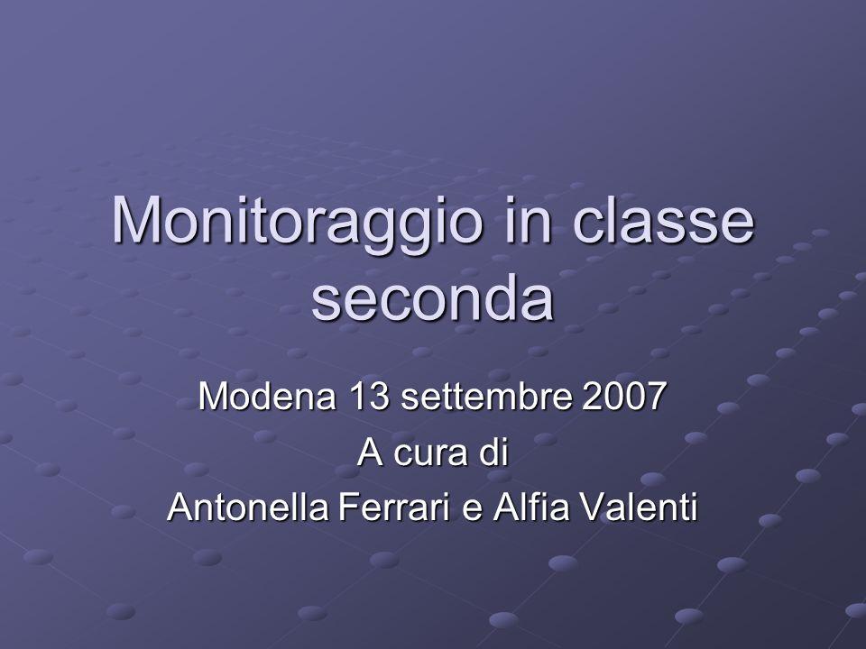 Monitoraggio in classe seconda Modena 13 settembre 2007 A cura di Antonella Ferrari e Alfia Valenti