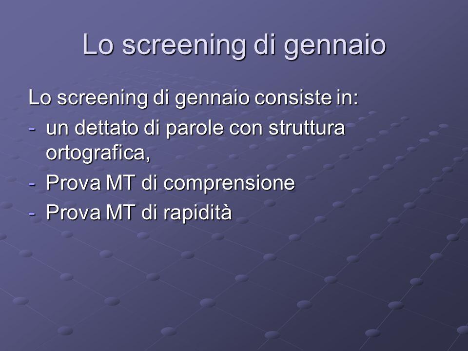 Lo screening di gennaio Lo screening di gennaio consiste in: -un dettato di parole con struttura ortografica, -Prova MT di comprensione -Prova MT di r