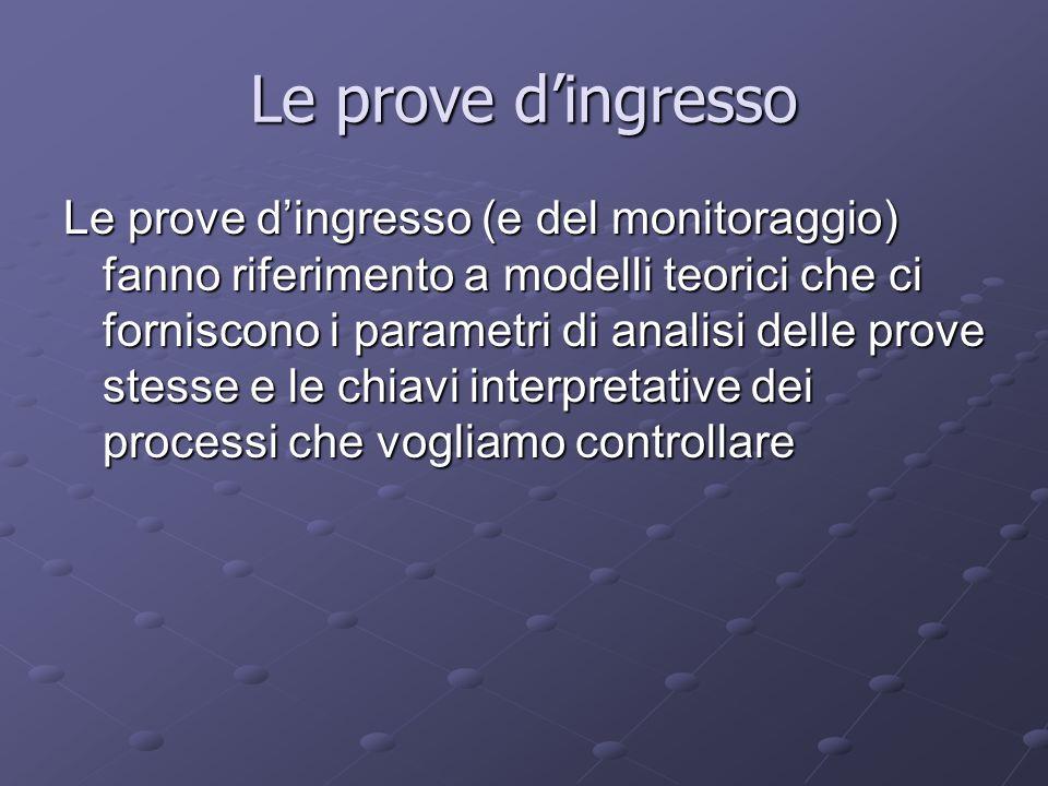 Le prove dingresso Le prove dingresso (e del monitoraggio) fanno riferimento a modelli teorici che ci forniscono i parametri di analisi delle prove st