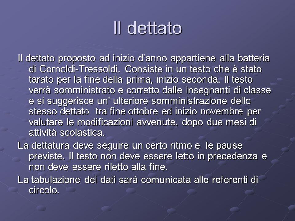 Il dettato Il dettato proposto ad inizio danno appartiene alla batteria di Cornoldi-Tressoldi. Consiste in un testo che è stato tarato per la fine del