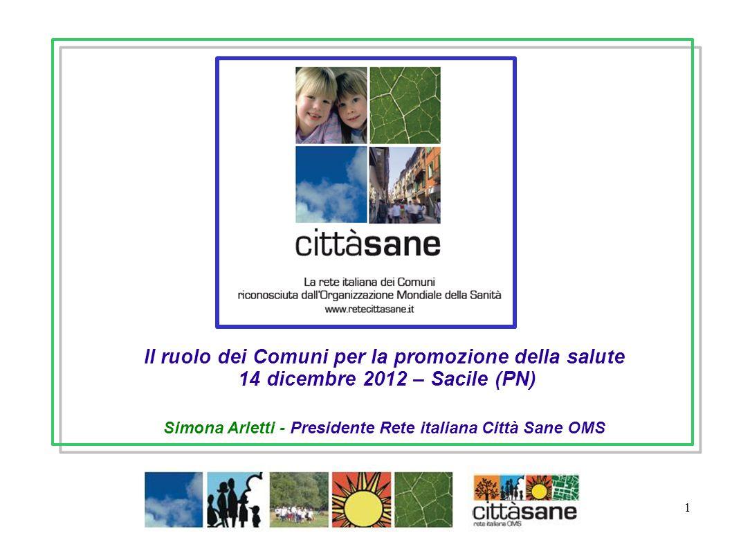 Dicembre 2012 1 Simona Arletti - Presidente Rete italiana Città Sane OMS Il ruolo dei Comuni per la promozione della salute 14 dicembre 2012 – Sacile (PN)