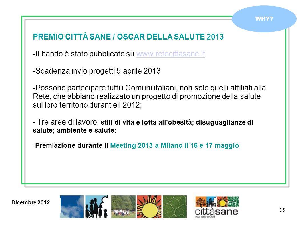 15 WHY? PREMIO CITTÀ SANE / OSCAR DELLA SALUTE 2013 -Il bando è stato pubblicato su www.retecittasane.itwww.retecittasane.it -Scadenza invio progetti