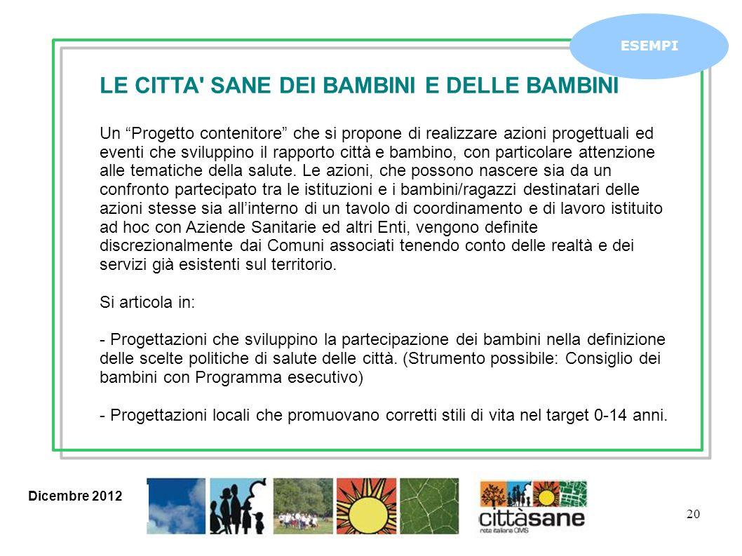 Dicembre 2012 20 ESEMPI LE CITTA' SANE DEI BAMBINI E DELLE BAMBINI Un Progetto contenitore che si propone di realizzare azioni progettuali ed eventi c